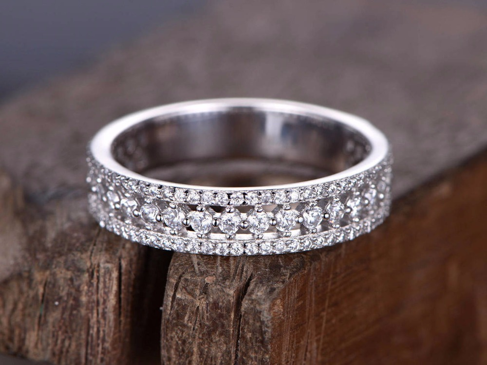 Half eternity ring 925 sterling silver wedding band White gold plated anniversary ring Art deco antique stacking matching band серьги art silver art silver ar004dwzmh30