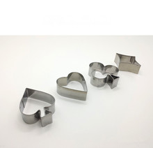 4pcs/lot Poker Cookie Mold Stainless Steel Playing Cards Cake Fondant Spade Heart Club Diamond Biscuit Cutter PD 010