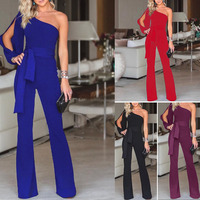 2019 Top Polyester Straight Solid Body Body Feminino Catsuit New Women Wear Pant Explosive Single Shouldered Sleeve Pants And