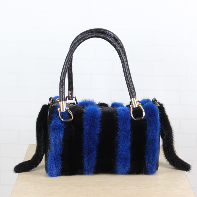 Mink bag 2018 new ladies mink striped zipper bag real fur bag shoulder diagonal handbag handbag bag B6