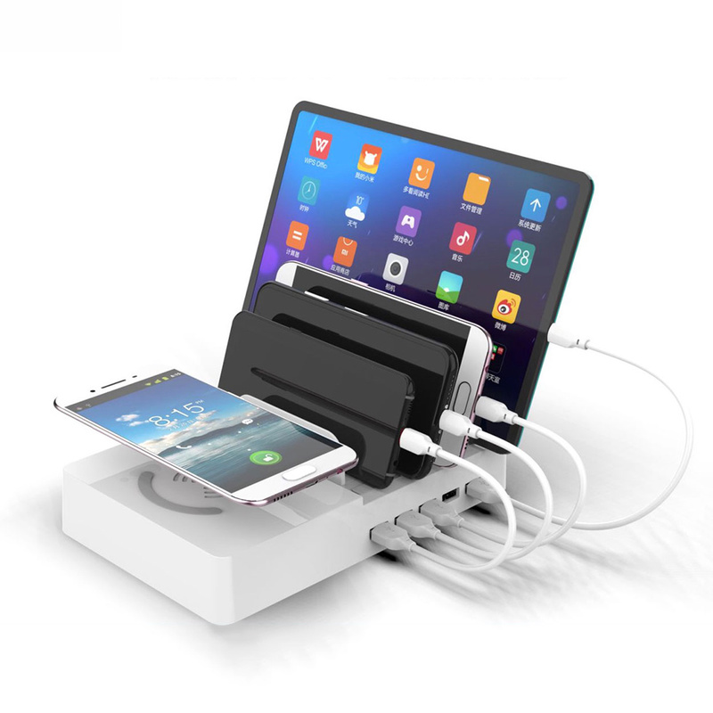 Multi-Port USB Smart QI Charging Dock Fast Charger with Wireless Multi-Function Charger for iPhone 7 X Phone Holder Charger new