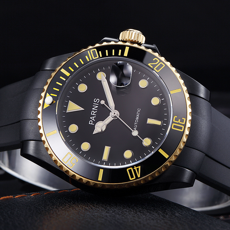 40mm Parnis rotating bezel automatic movement men's watch gold and black stainless steel pvd case wristwatch rubber strap