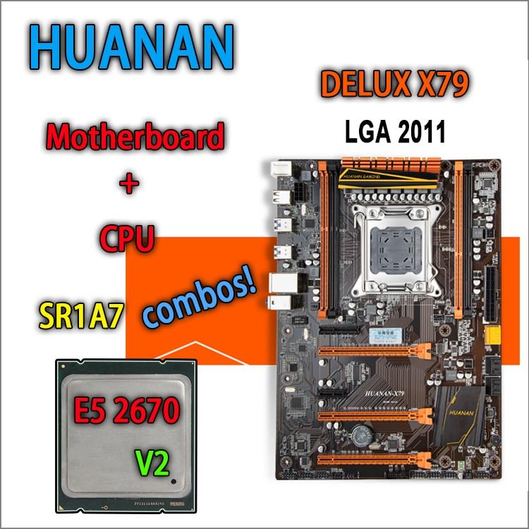 HUANAN golden Deluxe version X79 gaming motherboard for intel LGA 2011 ATX combos E5 2670 V2 SR1A7 DDR3 RECC Memory max 64gb