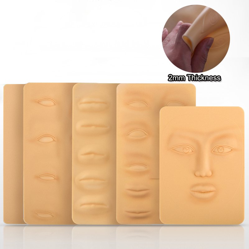 Tattoo Accesories Free Shipping 5pcs Silicon Ilicone Tattoo 3d Practice Synthetic Skin Face 27 X 15cm Permanent Makeup Practice Skin For Beginners Latest Technology