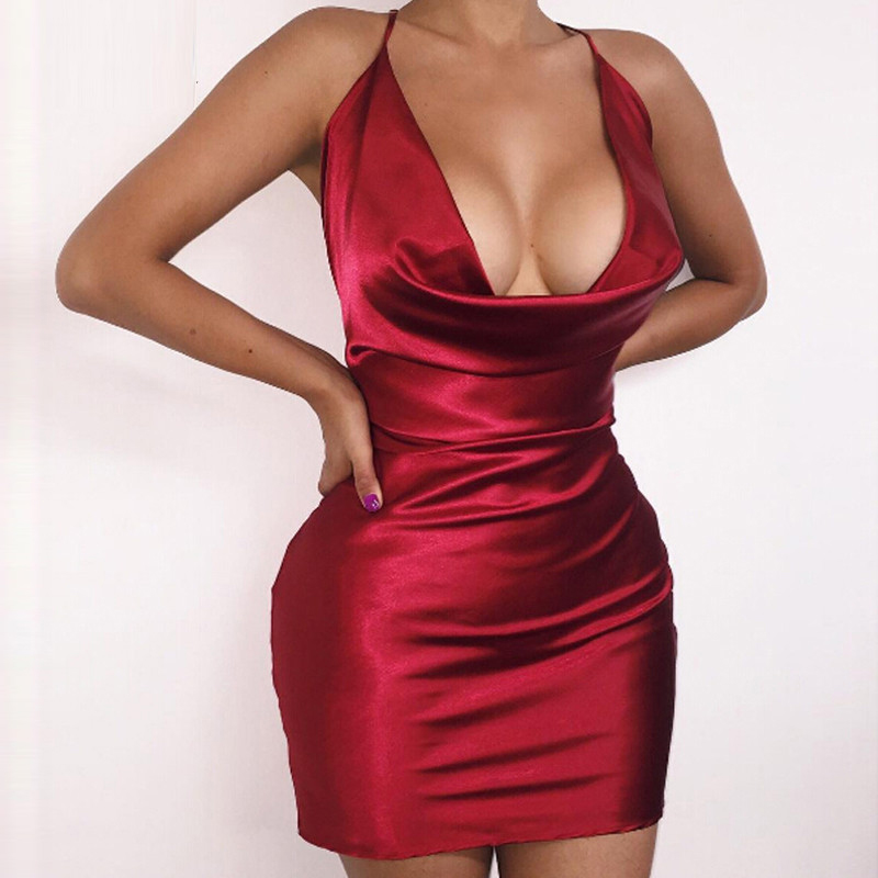 2016 summer womens sexy satin night club wear dresses ladies red spaghetti strap v neck backless. Black Bedroom Furniture Sets. Home Design Ideas