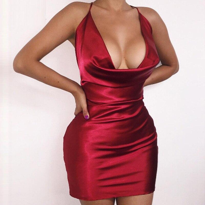 2016 Summer Womens Sexy Satin Night Club Wear Dresses Ladies Red Spaghetti Strap V Neck Backless Mini Bodycon Dress Vestidos