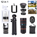 12in1 Phone Lenses 8X Zoom Telephoto Lens Telescope Macro Wide Angle Fisheye Lentes For Cell Phone With Tripod Clips Monopod