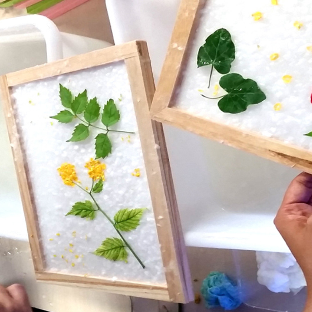 Natural DIY Dried Fiber Mulberry Paper Pressed Leaves Flowers Handmade Kit Ancient Papermaking Method Tool Kits Gift