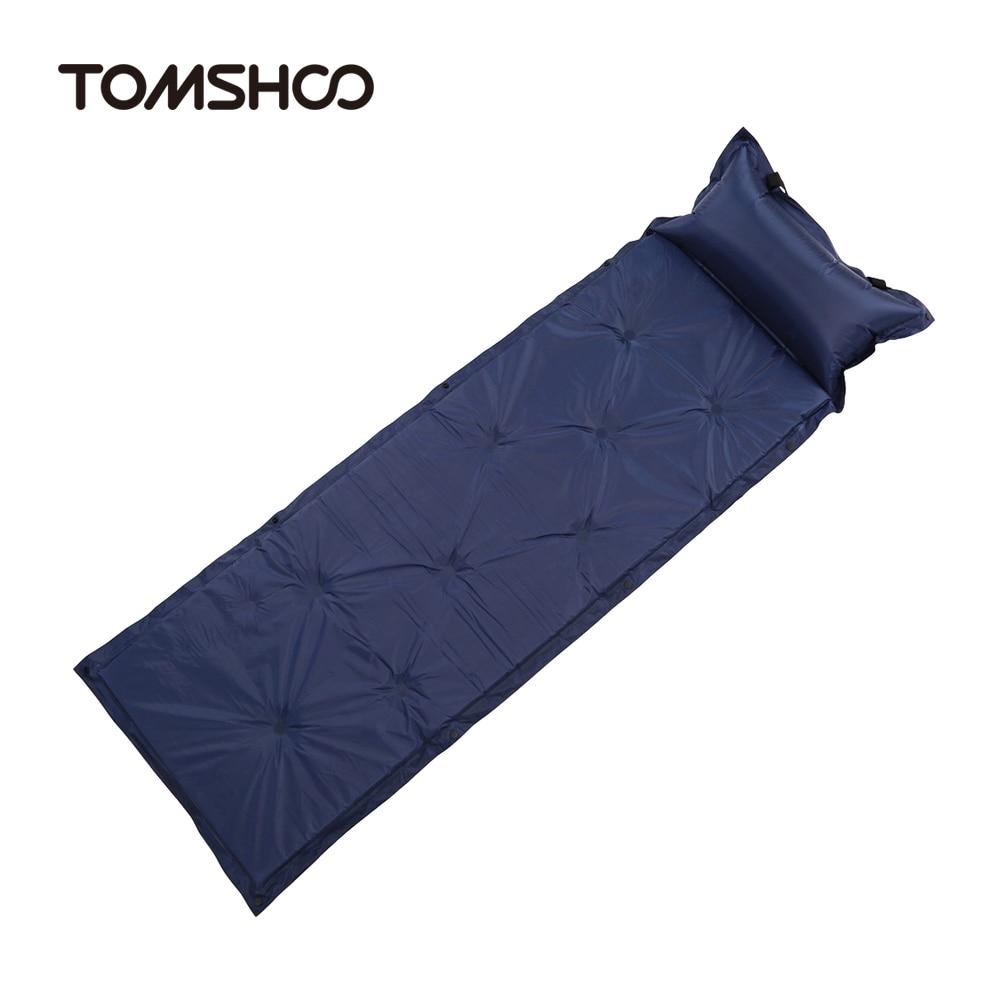 TOMSHOO Ultralight Outdoor Air Mattress Moistureproof Inflatable Air Mat  With Pillow Camping Bed Tent Camping Mat Sleeping Pad