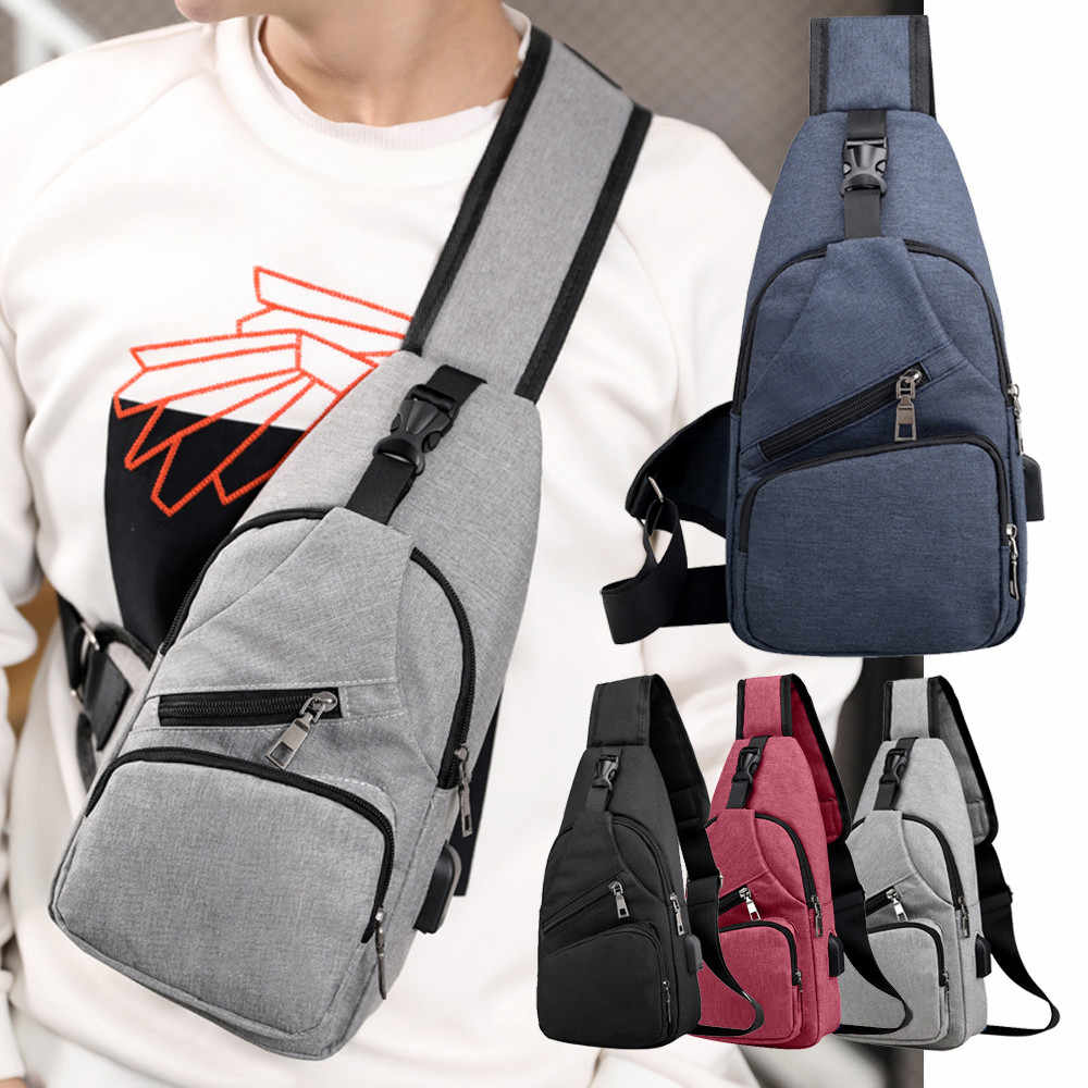 Men  Casual Functional Fanny Bag Waist Bag Money Phone Belt Bag with USB Gray Black Canvas Hip Bag Shoulder Belt Pack