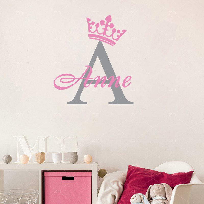 Personalized Custom Girls Name Crown Wall stickers home decor Decal DIY Initials poster for kids room Nursery Decor