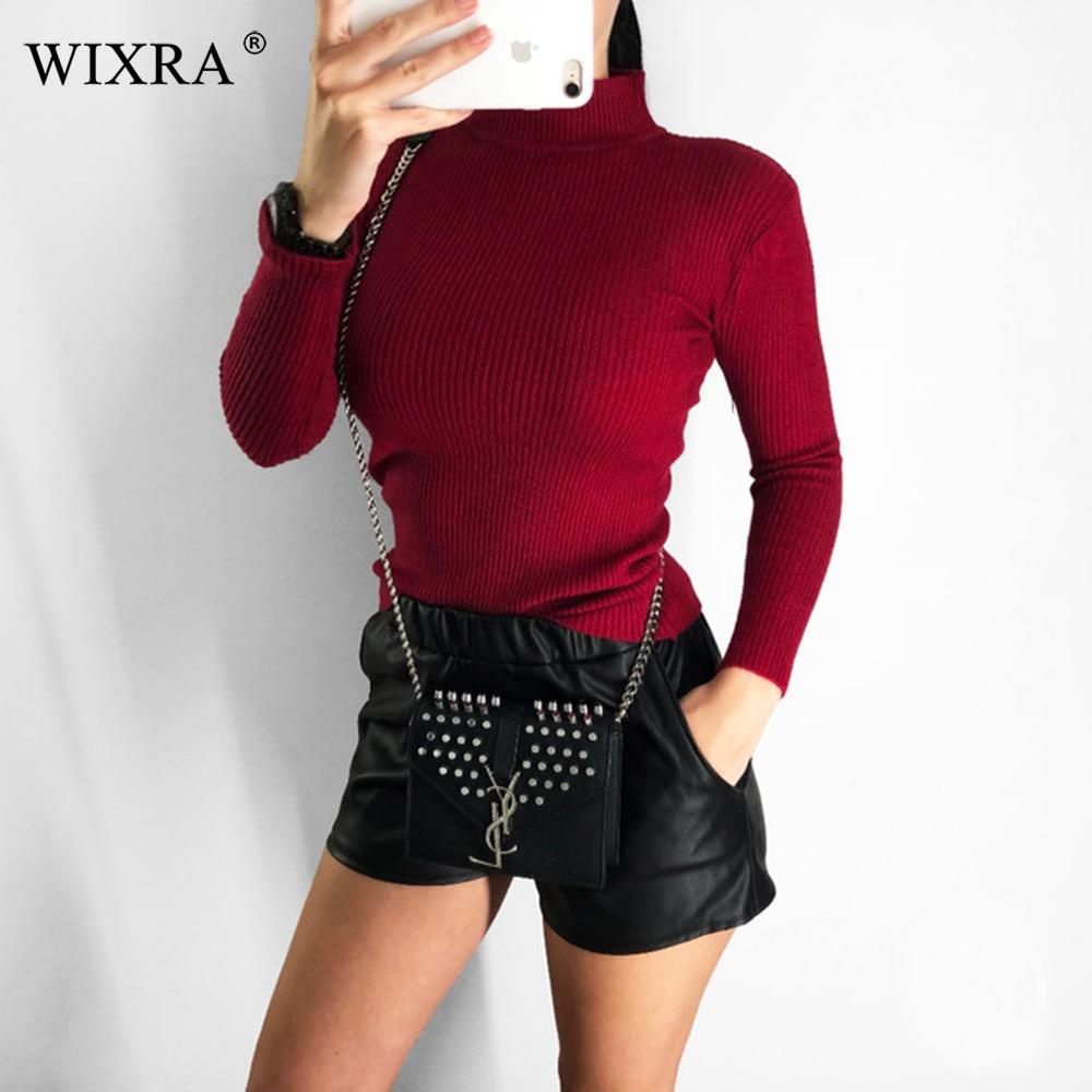 Wixra automne hiver printemps femmes pull à col roulé femme pulls tout match basique mince tricoté chandails pulls hauts