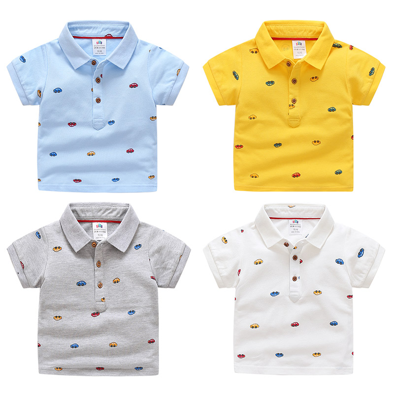 2018 Summer Children's Clothing Baby Candy Color Turn Down Collar Cartoon Character Kids Boy Car Short Sleeve Cotton T-Shirt