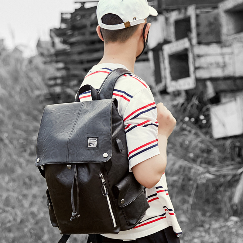 New men's high quality PU leather shoulder bag Fashionable waterproof and wearable computer bag multi-function travel bag multi line high quality fashionable opening ring