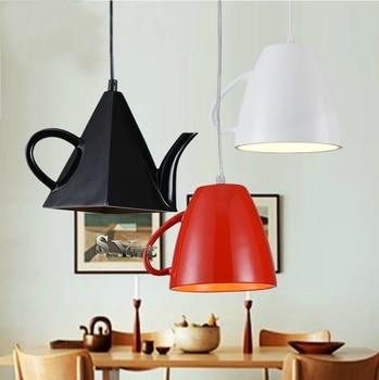 Modern resin teapot pendant lights Tea cup Pendant lamp bar/coffee lighting E27 Single head white/Black/Red home decoration