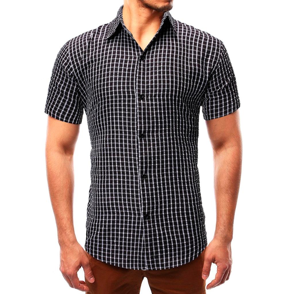 Рубашки мужские летние топы тонкие повседневные рубашки с отложным воротником клетчатые рубашки с коротким рукавом мужские рубашки camisas ...
