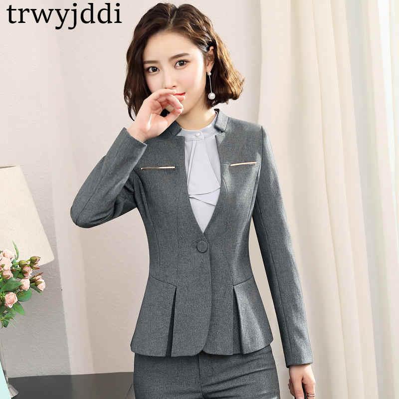 2019 新しい女性スーツビジネス春秋のフォーマルファッション V ネックスリムブレザージャケットオフィスレディースプラスサイズ作業服 n407