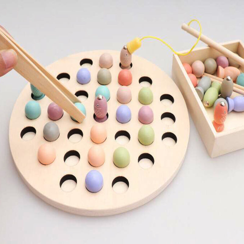 Educational Toys Montessori Math Toy Clip Wooden Beads Magnetic Fish Puzzle Game Multi-function Toys For Children