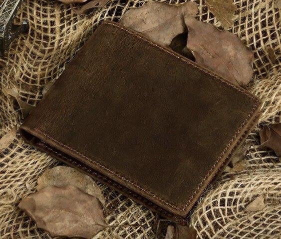 Новинка crazy horse кожаный бумажник кошелек мужской из натуральной кожи короткий дизайн кошельки ретро два сложения мульти-карты бумажник 8029 - Цвет: Коричневый