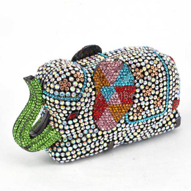 Fashion rhinestone, crystal encrusted, elephant clutch bag