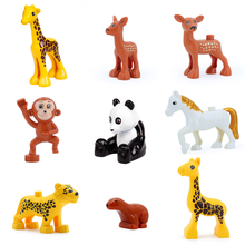 Partículas grandes Blocos de Construção do Modelo acessório crianças DIY Brinquedos Compatíveis com Duplo panda Animais veados girafa cavalo Tijolos