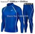 New Premium Take Five Men's Compression Skin Tight Long Sleeve Top & Pants Sets-039+054 Blue