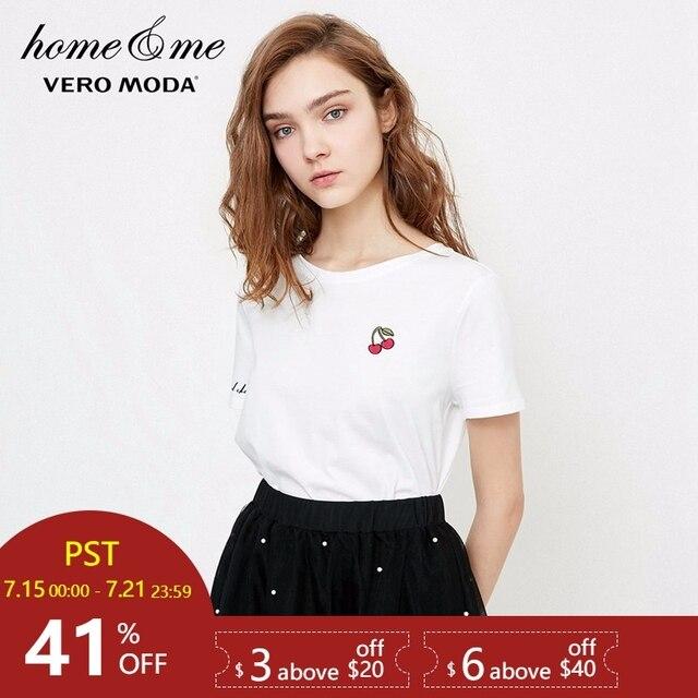 Vero Moda נשים של 2019 רקום Trims 100% כותנה פנאי למעלה חולצה ללבוש | 318201581