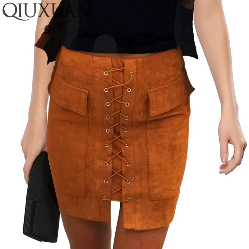 QIUXUAN Vintage Autumn Fashion Women Skirt Cross Lace up Winter Short Skirt Fashion High Waist Casual
