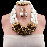 رائع الذهب الأبيض اللون الزفاف النيجيري الخرز الأفريقي مجوهرات المنصوص دبي الذهب والمجوهرات مجموعة الجملة سعر الخرز مجموعة السفينة حرة