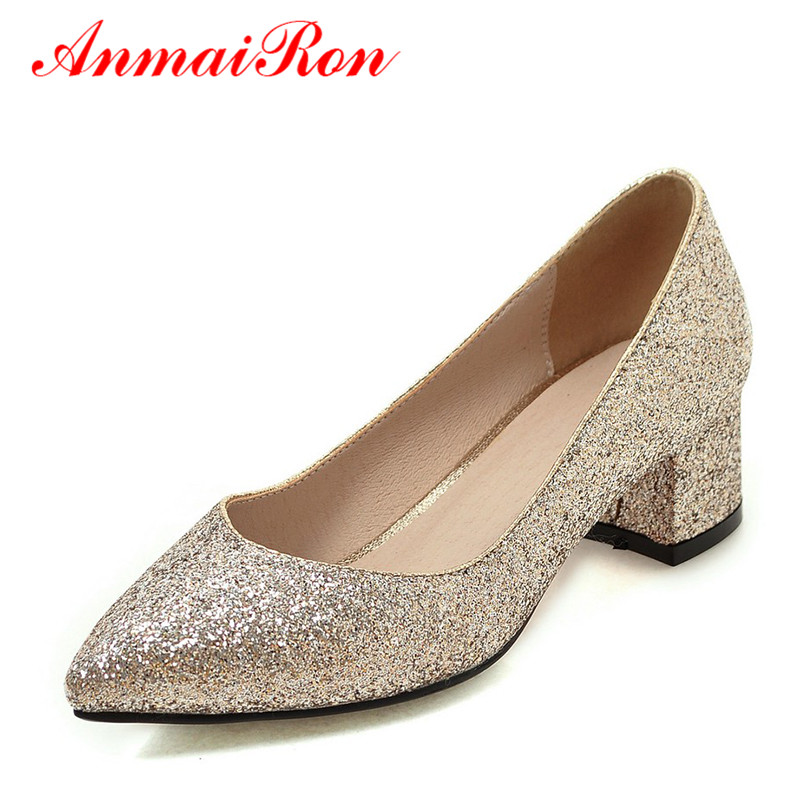 ANMAIRON Women Pumps 2018 Low Heel Spring Court Shoes Woman Pointed Toe Pumps Med Heels Silver Gold Women Black Giltter Shoes