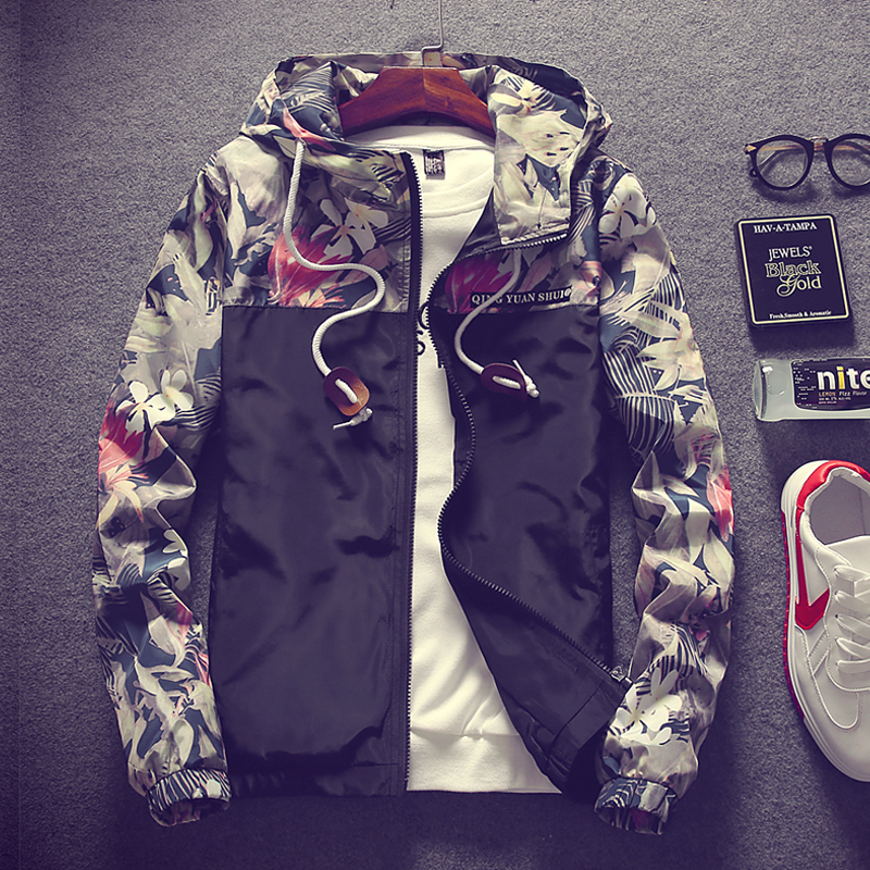 LEFT ROM 2018 spring new men's fashion casual color mosaic men's zipper hooded jacket / street camouflage men's jacket S to 4XL