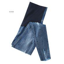 Длинные рваные эластичные джинсы для беременных, летние модные брюки-карандаш для беременных женщин