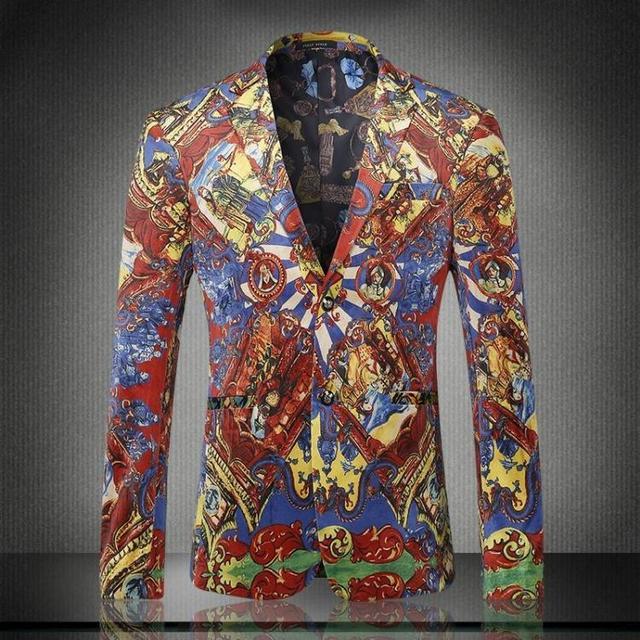 2016 Otoño Invierno Hombre Casual Colorido Imprimir Blazer Slim Fit Chaqueta de Abrigo Para Los Hombres de Alta Calidad Trajes de Terciopelo de Oro M-XXXL