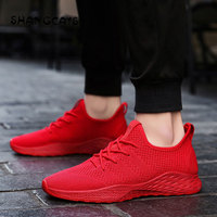 2018 Men Vulcanized Shoes Fashion Lace Up Shoes Male Black sneakers Comfortable Breathable Sneakers red mens shoes zaptos hombre