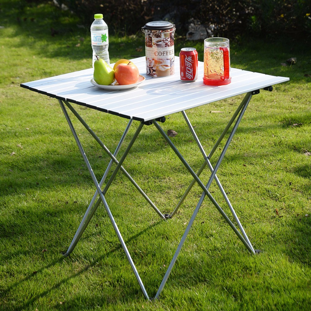 Aluminum Roll Up Table Folding Camping Outdoor Indoor Picnic W/ Bag Heavy Duty  OP2789 harlem hl10568 10 piece folding aluminum wind shield board for camping picnic burner silver