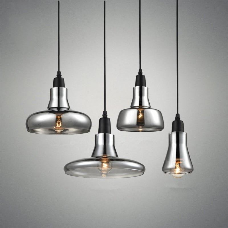 European Modern Chandelier E27 Bulb Led Lamps Creative Shaded Glass Lampshade Single Chandeliers Led Lustre Chandelier Lighting