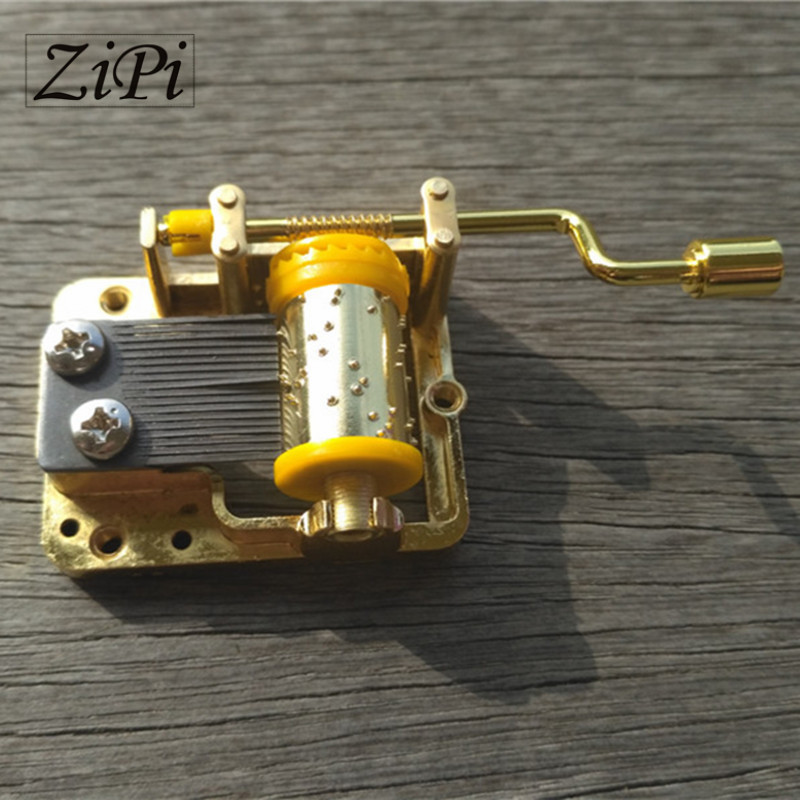 Gold DIY Hand Crank Movements Parts Hurdy-gurdy DIY Music Box Music Movement Set 18 Tones Beautiful Melody Gift