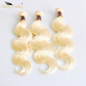 Mèches brésiliennes Remy Body Wave-Ross Pretty | Cheveux naturels, couleur Blonde 613, Extension de cheveux, 3 pièces, produit