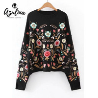AZULINA Women New 2017 Autumn Luxury Ethnic Navy Floral Embroidered Oversized Sweater Drop Shoulder Winter Warm