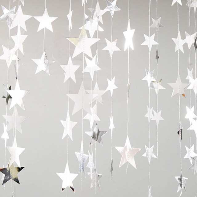 M bright gold silver star party decoration paper garlands