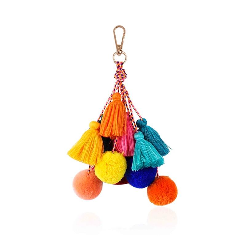 HuaZ Bohemian Fringe Hair Ball Keychain Color Multi-layer Wool Fringe Woven Bag Pendant Accessories