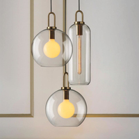 Modern Glass Indoor Led Pendant Lamp Restaurant Hanging Lamp Parlor Hall Pendant Lights Fixture Nordic Suspension Lamp Loft Deco