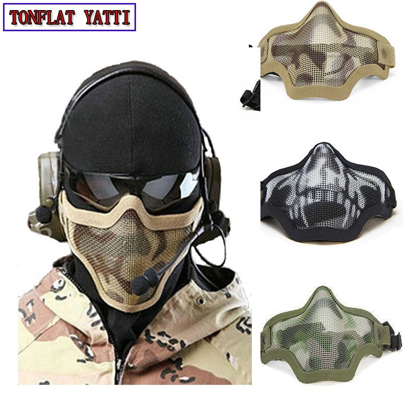 2018 New military tactical mask Boutique Tactical Hunting Metal Wire Half Face CS Mask Mesh Airsoft Mask Paintball Resistant купить