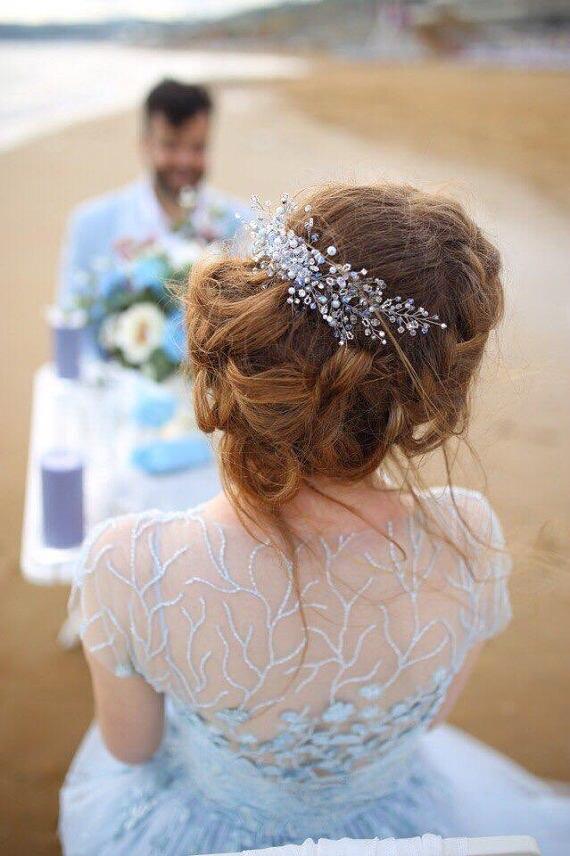 Что то синий кристалл свадебный головной убор невесты головной убор повязка для волос ручной работы женские вечерние украшения аксессуары