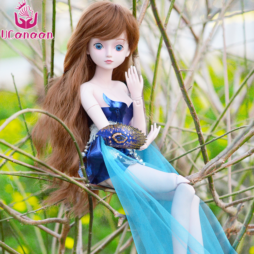 UCanaan 60CM 19 Ball Jointed BJD Doll Beauty Girl 1/3 Dolls With All Outfit Dress Wig Eyes Makeup Children DIY Dressup Toys 35cm bjd doll empress zhangsun chinese tang dynasty beauty doll 12 jointed articulated doll brinquedos girl toy birthday gift