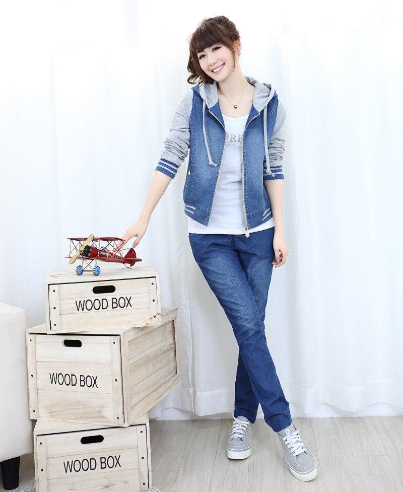 Female 2017 Blue <font><b>Jeans</b></font> Hooded Long <font><b>Sleeve</b></font> Denim Coat patchwork outerwear coat Autumn Hooded Splicing Short <font><b>jean</b></font> Jacket 022505