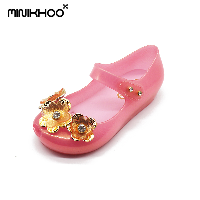 Mini Melissa 2018 Cute Diamond Flower Jelly Girls Sandals Melissa Girls Sandals Sapato Infantil Menina Children Girls Shoes