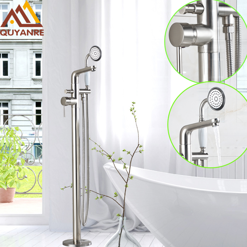 Brushed Nickel Floor Free Standing Bathtub Mixer Faucet Single Handle With Handheld Shower Tub Filler Pull-out Switch