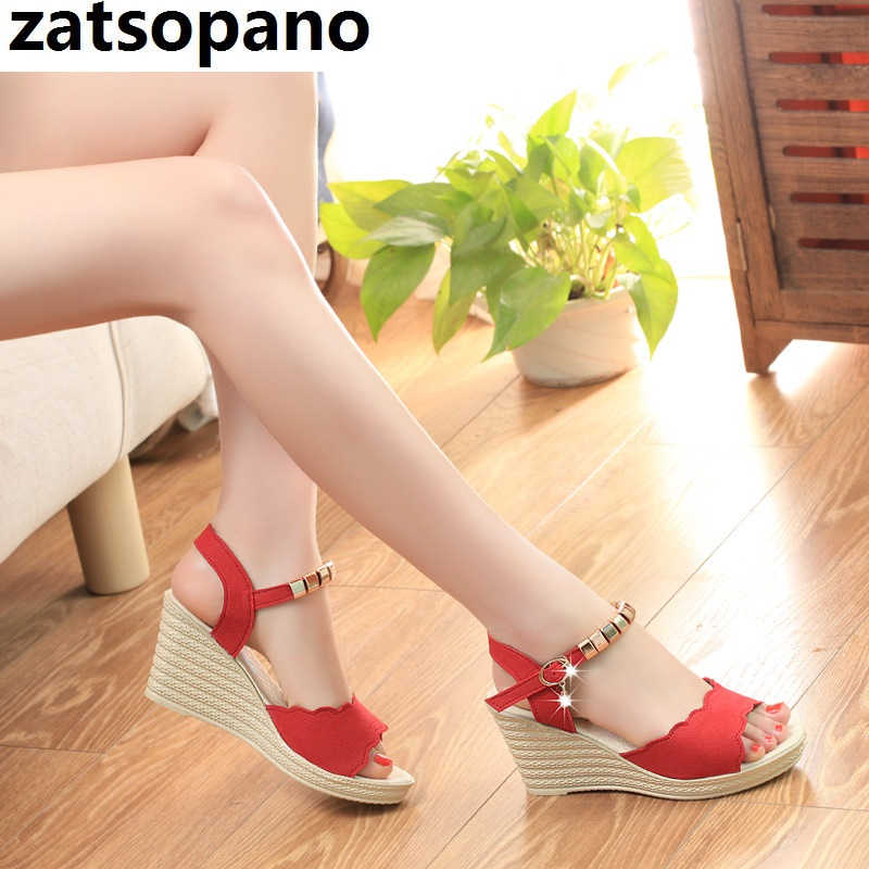 Women Sandals Wedges-Shoes Gladiator Peep-Toe Summer Fashion New Metal Lady Casual Solid
