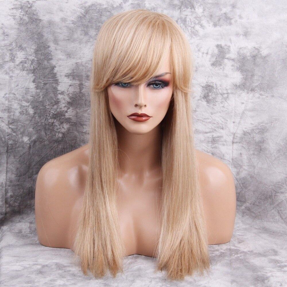 ЕСИН 26 дюйм(ов) длинные прямые светлые парики смешанных человеческих волос Синтетический парик с боковыми челкой для белых Для Женщин Беспл...